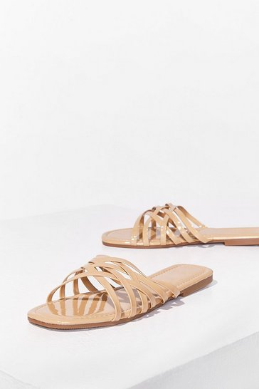 Beige Who's Slide Are You On Faux Leather Flat Sandals