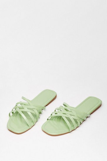 Green Crossing Paths Faux Leather Flat Sandals