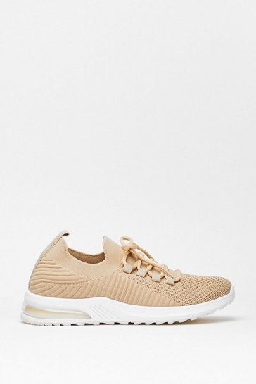 Beige Run Knit Ribbed Sneakers