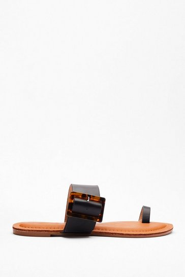 Black Tort About It Buckle Flat Sandals