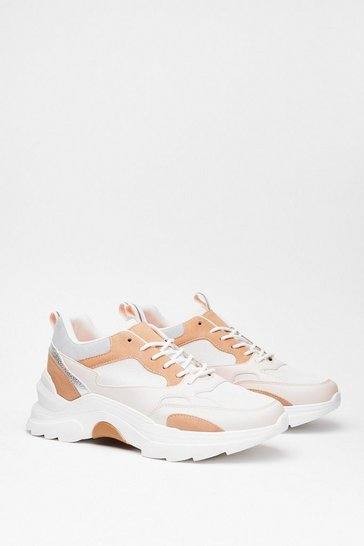 Pink Sneak the Word Faux Leather Two-Tone Sneakers