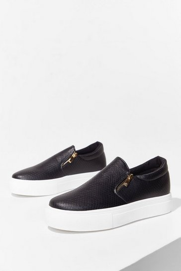 Black Flatform PU Side Zip Slip On Skaters