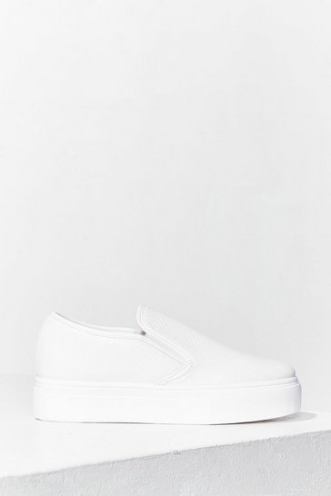 White Snake in the Grass Slip-On Trainers
