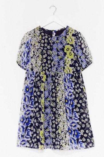 Blue Not Growing to Happen Floral Mini Dress