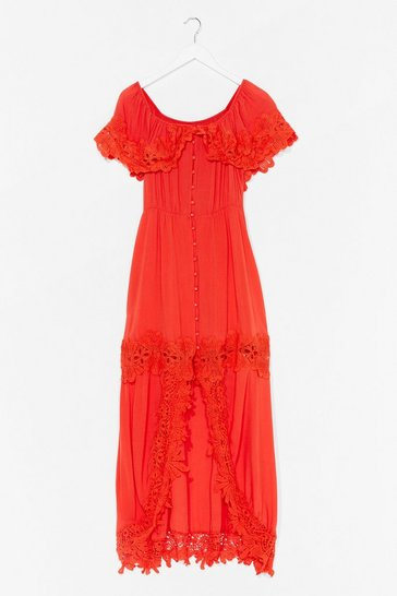 Orange Crochet We Go Off-the-Shoulder Maxi Dress