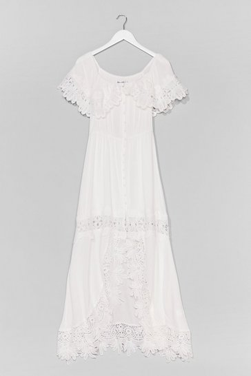 White Crochet We Go Off-the-Shoulder Maxi Dress