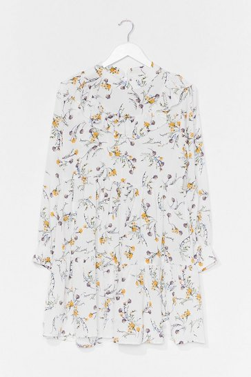 White Not Growing to Happen Floral Mini Dress