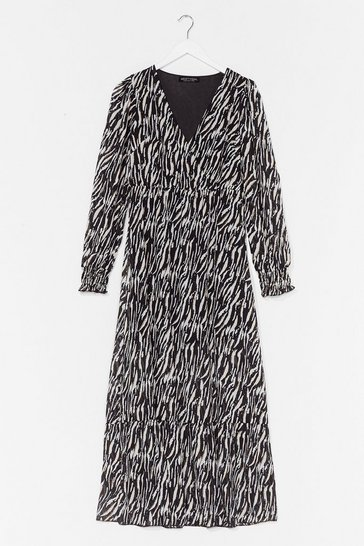 Black The Last I Herd Zebra Maxi Dress