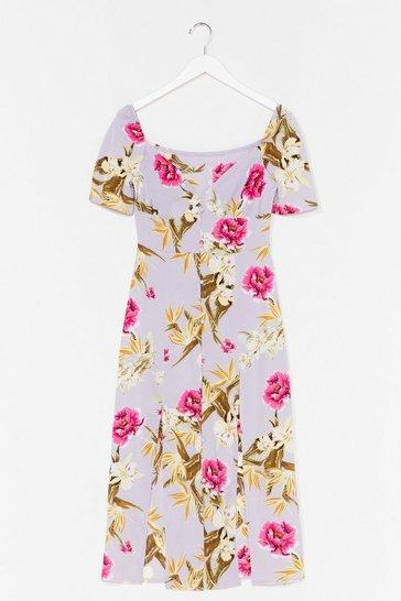 Blue Feels Like Summer Floral Midi Dress
