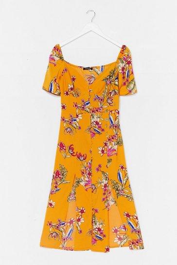 Yellow Feels Like Summer Floral Midi Dress