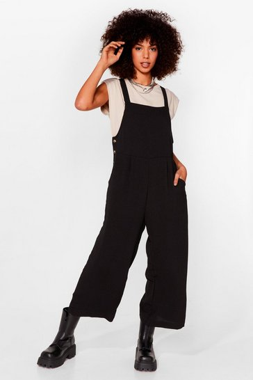 Black Winner Overall Wide-Leg Overalls