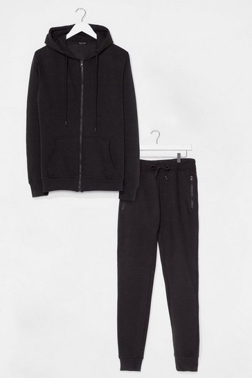 Black Kitchen Run Relaxed Hoodie and Jogger Set