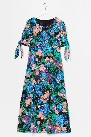 Black Plant the Seed Floral Midi Dress