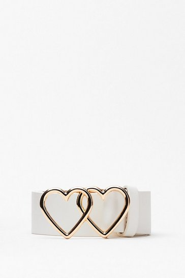White Heart to Heart Faux Leather Belt