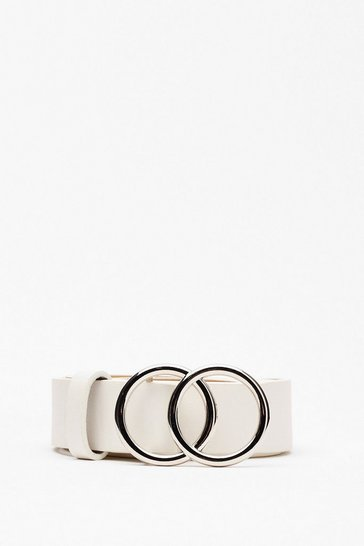 White You'll Come Round Faux Leather Belt