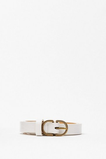 White Texture You Back Later Croc Faux Leather Belt