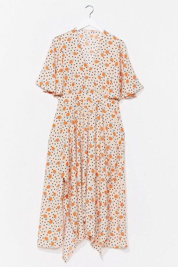 Cream Make Bloom Wrap Midi Dress