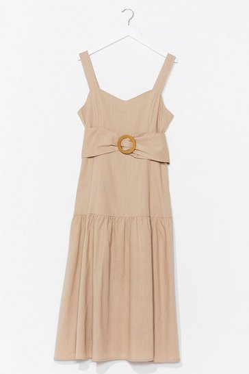 Sand Day to Day Linen Belted Midi Dress