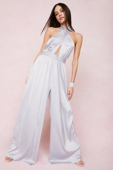 Blue Satin Halter Neck Wide Leg Jumpsuit