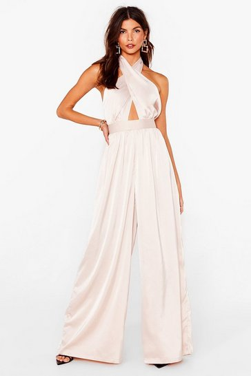 Champagne Oh What a Night Satin Halter Jumpsuit