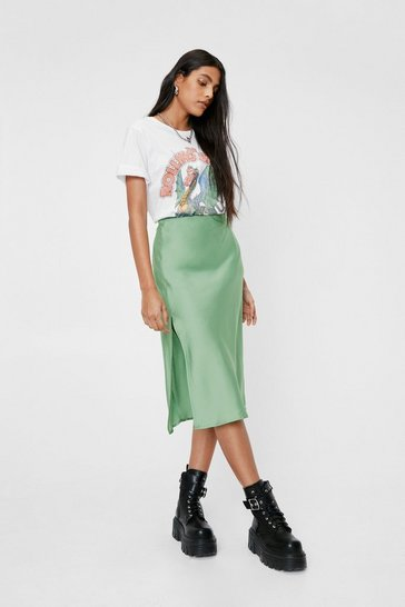 Green Slit the Mark Satin Midi Skirt