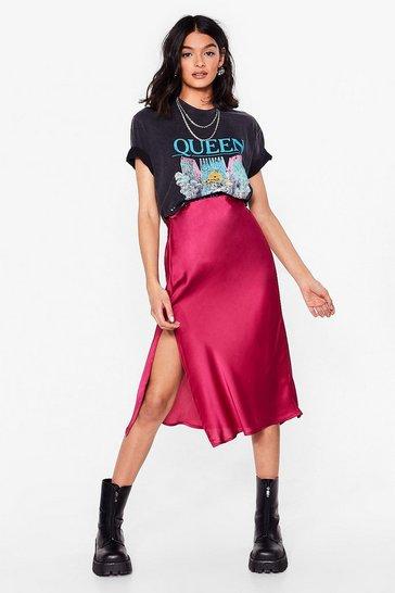 Hot pink Slit the Mark Satin Midi Skirt