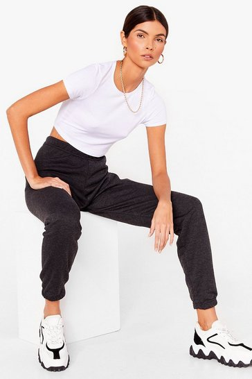 Charcoal Oversized Jersey Cuffed Sweatpants