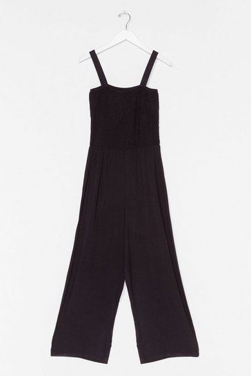 Black Shirred of Wisdom Wide-Leg Jumpsuit