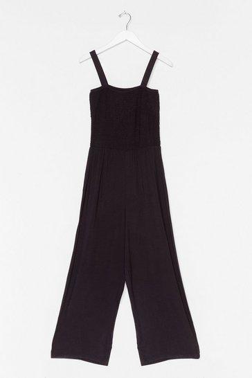 Black Shirred of Wisdom Wide-Leg Jumpsuit