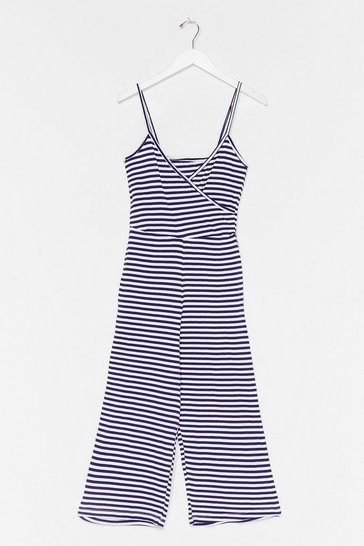 Navy Stripey Culotte Jumpsuit