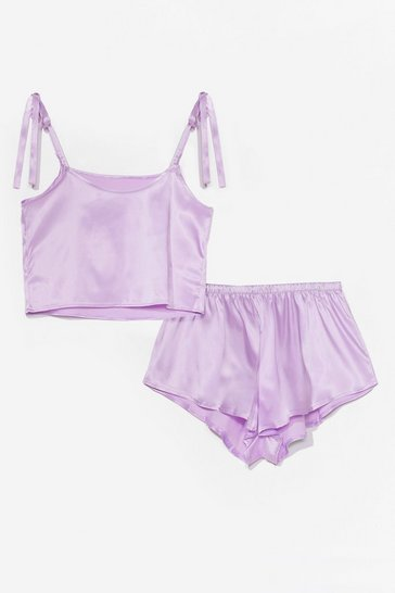 Lilac Late Night Feelings Satin Pajama Short Set