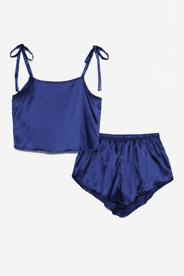 Navy Late Night Feelings Satin Pajama Short Set
