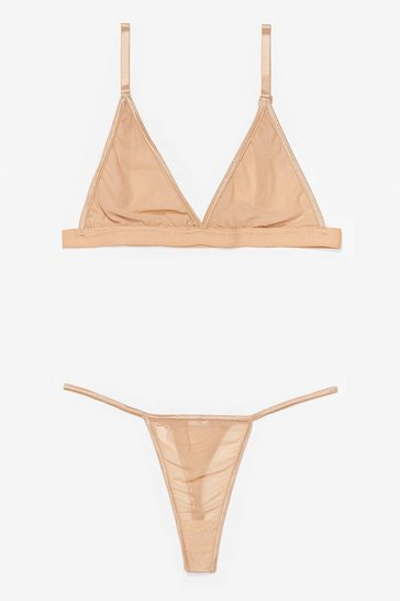 Nude You Mesh Believe Triangle Bralette and Thong Set