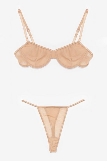 Nude You Mesh Believe Underwire Bra and Thong Set