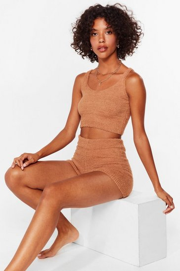 Brown Knit's My Life Chenille Shorts Lounge Set