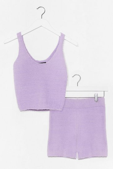 Lilac Chenille Knitted Short Lounge Set