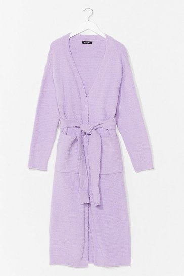 Lilac Thinking About You Belted Cardigan