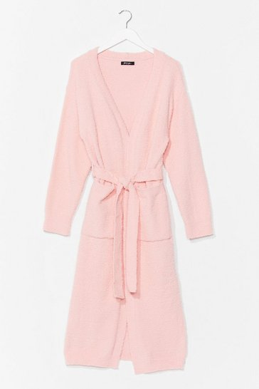 Pink Thinking About You Belted Cardigan