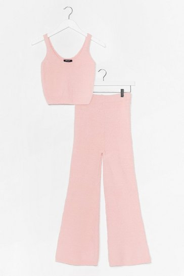 Pink Chenille Knitted Trouser + Vest Lounge Set