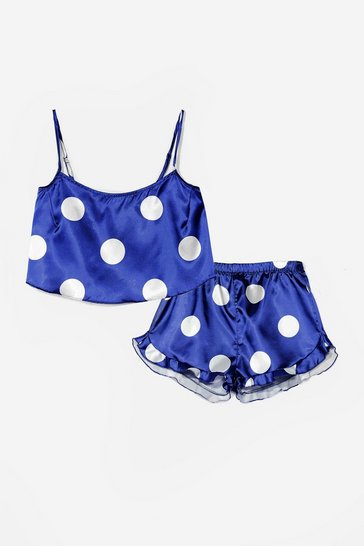 Navy My Spotlight Satin Polka Dot Shorts Pajama Set