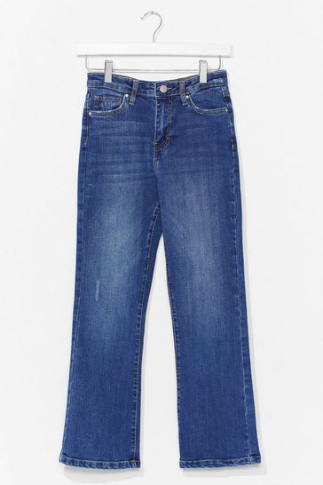 Blue When in Doubt Cropped Flare Jeans