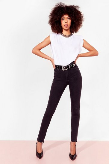 Black Bad Reputation Raw Hem Skinny Jeans