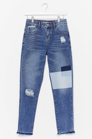 Blue Patchwork Distressed Mom Jeans
