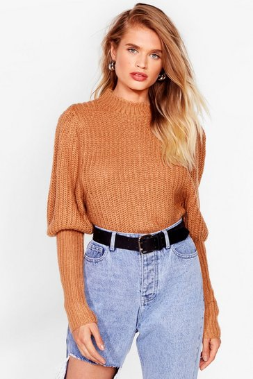Tan Raise the Bar High Ribbed Knit Sweater