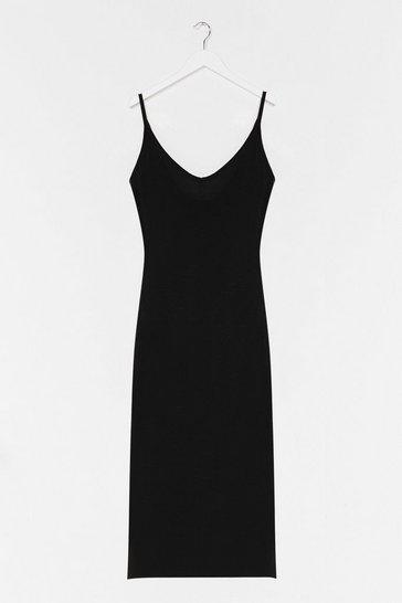 Black Jersey Casual Cami Midi Dresss
