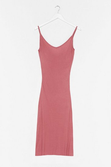 Rose Jersey Casual Cami Midi Dresss