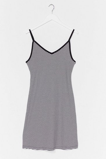 Black Do You Swing Striped Jersey Dress