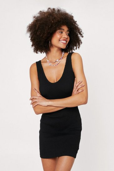 Black Ruched Fabric Round Neck Mini Dress