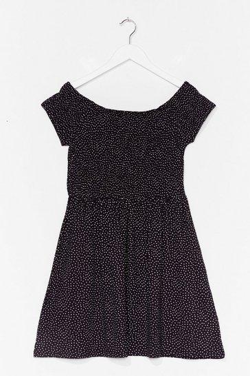 Black Spot Stuff Off-the-Shoulder Mini Dress