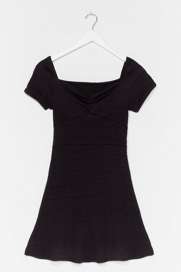 Black Cut It Short Ribbed Mini Dress